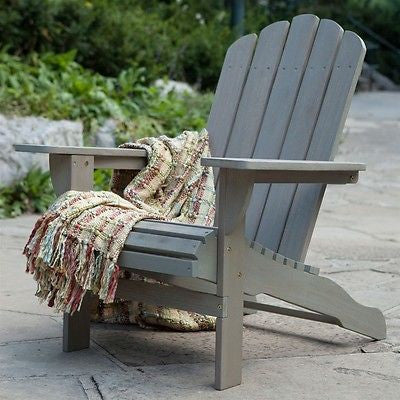 Eco-Friendly Eucalyptus Wood Outdoor Adirondack Chair in Driftwood Finish - YourGardenStop