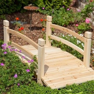 4-Ft Garden Bridge with Railings in Fir Wood - YourGardenStop