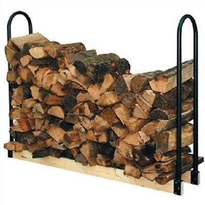 Black Powder Coated Steel Firewood Log Rack - 4ft - YourGardenStop