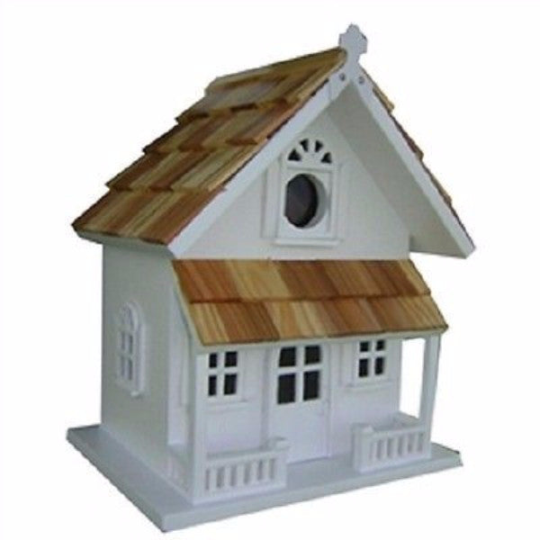 White Victorian Cottage Wooden Birdhouse - YourGardenStop