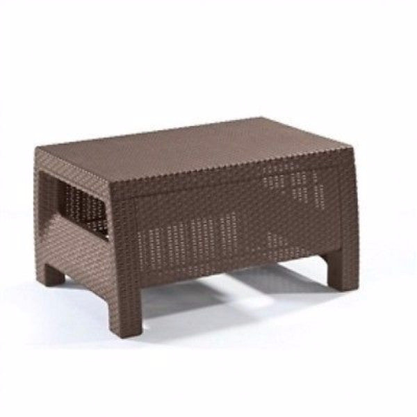 Modern Patio Table Ottoman in Brown Outdoor Weather Resistant Plastic Rattan - YourGardenStop