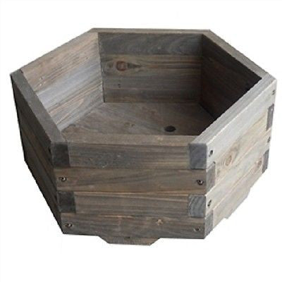 Small 16 x 16 x 7 inch Hexagon Fir Wood Garden Planter Box - YourGardenStop