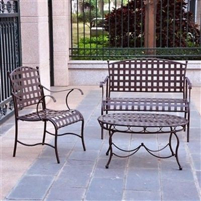 3-Piece Wrought Iron Patio Lounge Seating Set - YourGardenStop