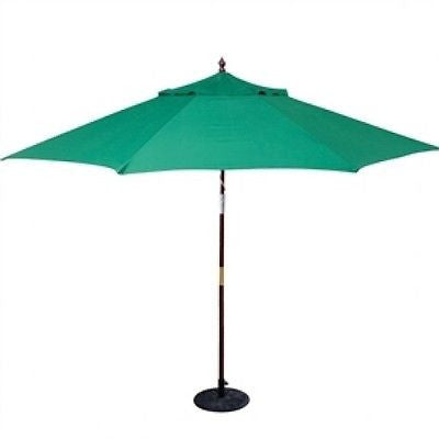 11-Ft Wood Patio Umbrella with Green Canopy - YourGardenStop