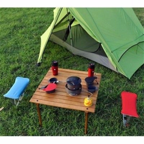 Portable Patio Table with Brown Solid Wood Top and Carry Bag - YourGardenStop