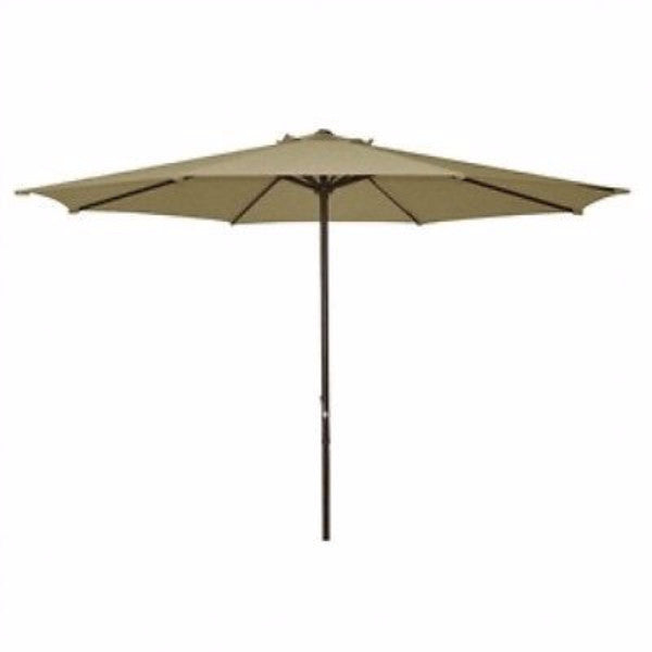 9 Foot Patio Umbrella with Beige Polyester Fabric Shade - YourGardenStop