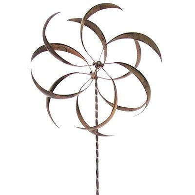 Metal Curved Leaf Spinning Outdoor Garden Wind Spinner with Stake - YourGardenStop