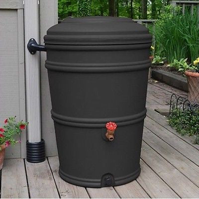 45-Gallon Rain Barrel w/Spigot & Rain Gutter Water Diverter in Charcoal - YourGardenStop