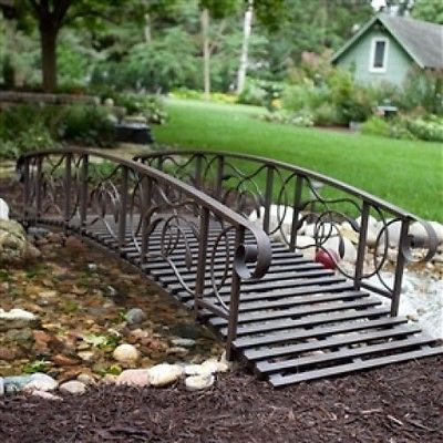 8-Ft Metal Garden Bridge in Weathered Black Finish - YourGardenStop