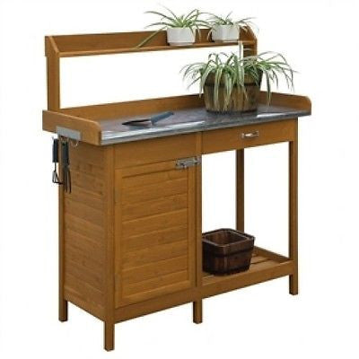 Outdoor Home Garden Potting Bench w/Metal Table Top & Storage Cabinet CDPB144953 - YourGardenStop