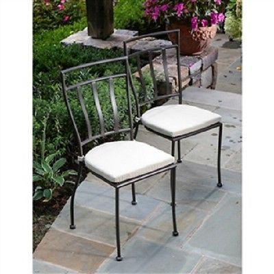 Set of 2 Wrought Iron Outdoor Patio Bistro Chairs with Cushions - YourGardenStop