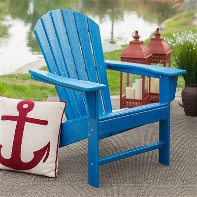 Heavy-Duty Resin Adirondack Chair in Blue - YourGardenStop