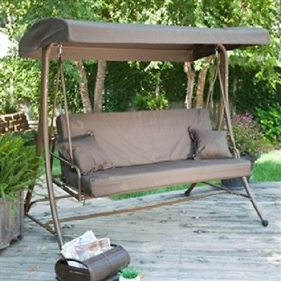 3-Person Convertible Canopy Swing Patio Bed - YourGardenStop