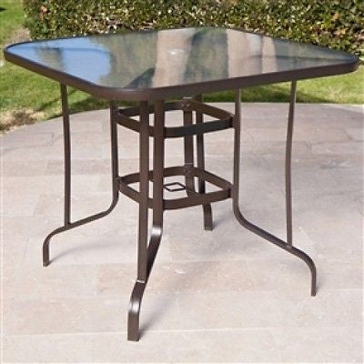 40 inch Outdoor Patio Dining Table with Glass Top and Umbrella Hole - YourGardenStop