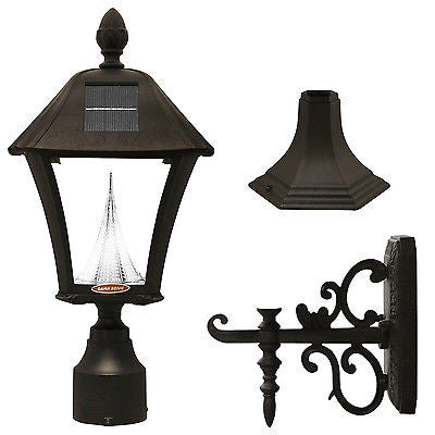 "Gama Sonic Baytown Solar Light with Wall/Post/3"" Fitter Mount in Black - YourGardenStop"