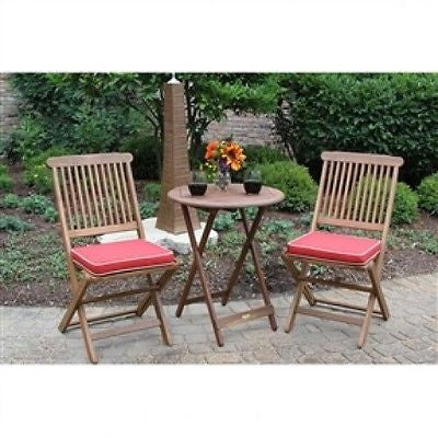 3-Piece Outdoor Patio Bistro Set with Red Cushions - YourGardenStop