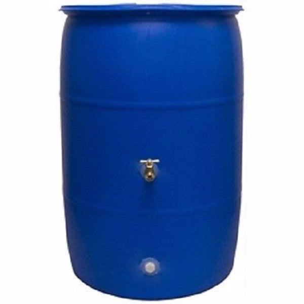 55 Gallon Rain Barrel - Recycled Plastic & Brass Spigot - YourGardenStop