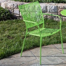 Set of 2 Outdoor Patio Stacking Metal Dining Arm Chair in Lime Green - YourGardenStop