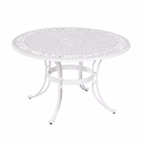 42-inch Round Patio Dining Table in White Metal Finish - YourGardenStop