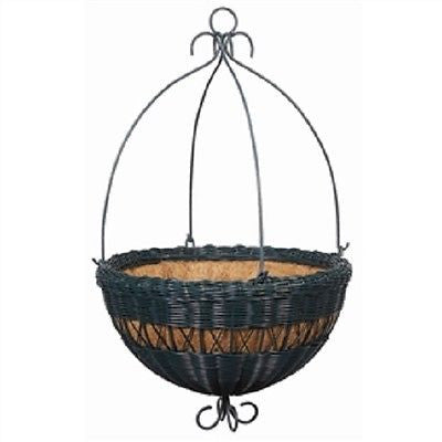 "Hunter Green Resin Wicker Hanging Planter with Coco Fiber Liner in 14"" & 16"" - YourGardenStop"