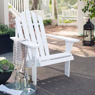 White Wood Adirondack Chair with Comfort Back Design - YourGardenStop