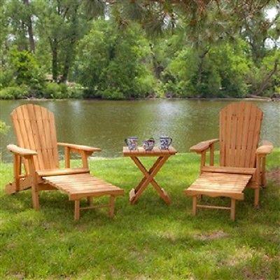 3-Piece Patio Set with 2 Adirondack Chairs & Side Table - YourGardenStop