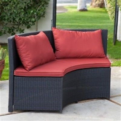 Modern 8-Seat Wicker Resin Patio Dining Set with Red Cushions - YourGardenStop