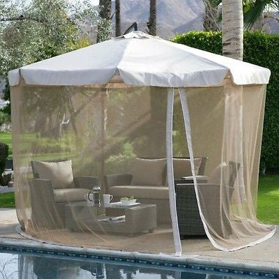 11-ft. Gazebo Umbrella with Detachable Netting in Beige - YourGardenStop