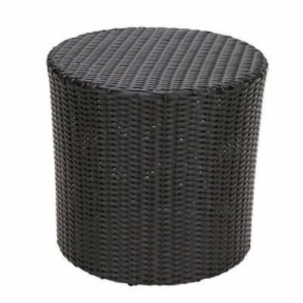 Outdoor Round Barrel Style Patio Side Table in Black Wicker Resin - YourGardenStop