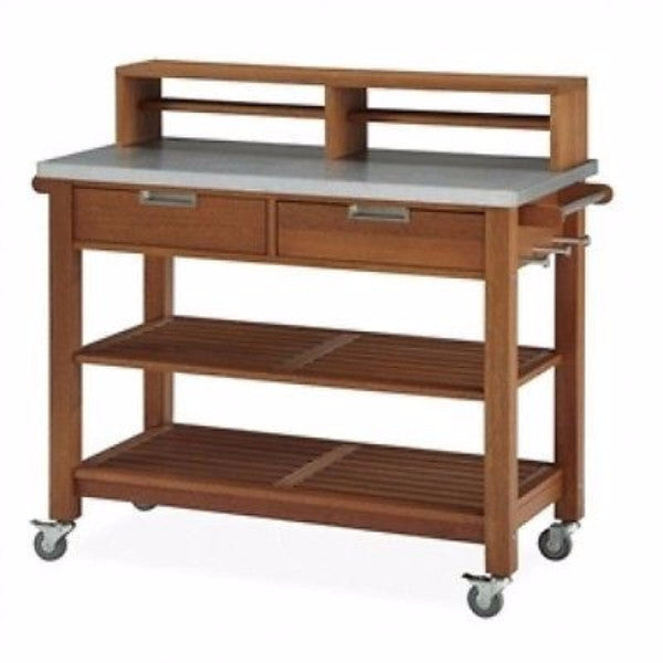 Rust Resistant Steel Top Potting Bench Work Table with Locking Casters - YourGardenStop