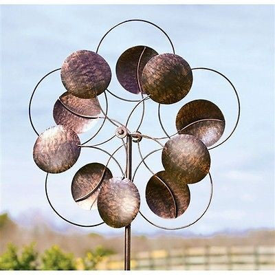 6-Ft Tall Bronze Finish Metal Wind Spinner - YourGardenStop