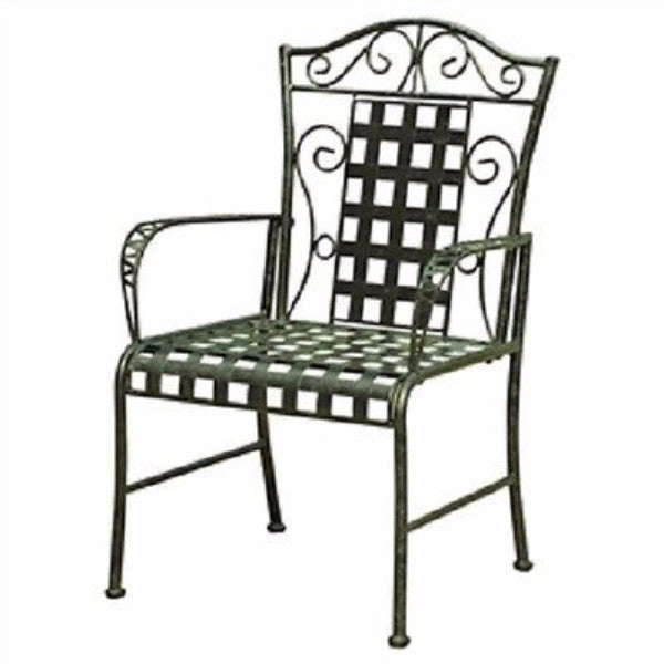 Set of 2 Metal Patio Dining Chairs in Antique Black Finish - YourGardenStop
