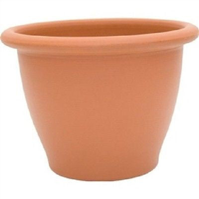 9-inch Snap-Fit Poly Planter in Dark Terra Cotta - YourGardenStop