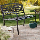 4-Ft Metal Garden Bench with Birds and Floral Designs - YourGardenStop
