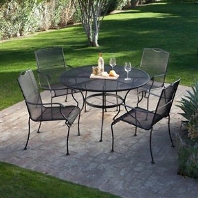 5-Piece Wrought Iron Patio Furniture Dining Set - YourGardenStop
