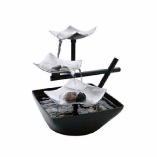 Illuminated Silver Water Springs Relaxing Table Fountain with Stones - YourGardenStop