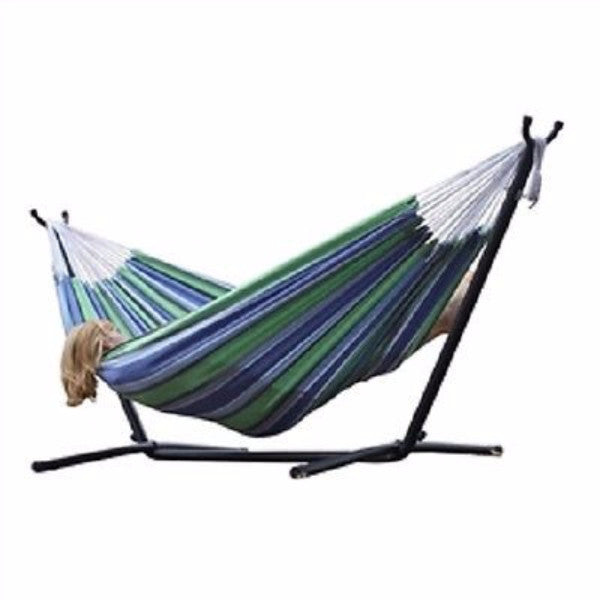 Oasis Blue Green Stripes Hammock with Steel Hammock Stand - YourGardenStop