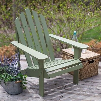 Sage Green Wood Adirondack Chair for Outdoor Patio Garden Deck - YourGardenStop