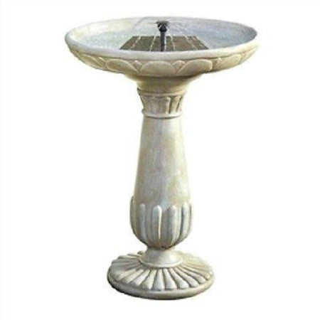 Outdoor Solar Fountain Bird Bath in Fade Resistant Resin w/Solar Pump