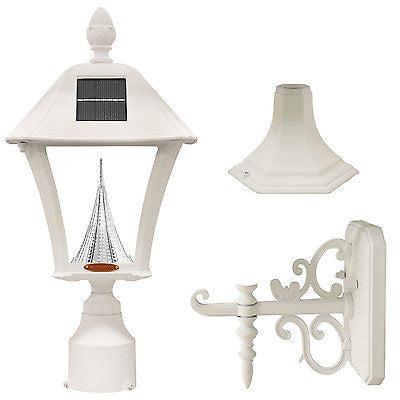 "Gama Sonic Baytown Solar Light with Wall/Post/3"" Fitter Mount in White - YourGardenStop"