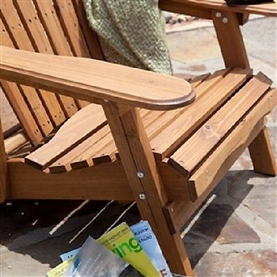 Oversized Classic Adirondack Chair with Pull-Out Ottoman in Natural - YourGardenStop