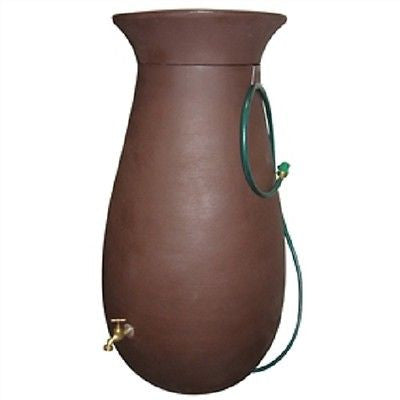 Molded Plastic 65 Gallon Rain Barrel in Dark Brown - YourGardenStop