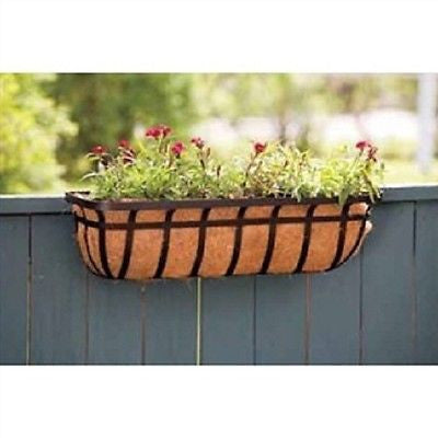 30-inch Window/Deck Planter with Coco Liner in Black - YourGardenStop