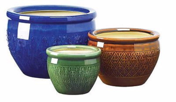 3 Piece Ceramic Planter Set in Azure, Topaz & Peridot - YourGardenStop