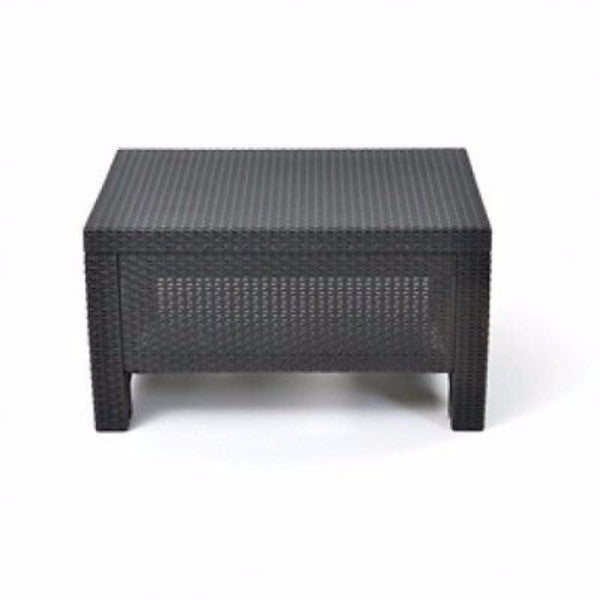 Contemporary Outdoor Coffee Table in Durable Black Plastic Rattan - YourGardenStop