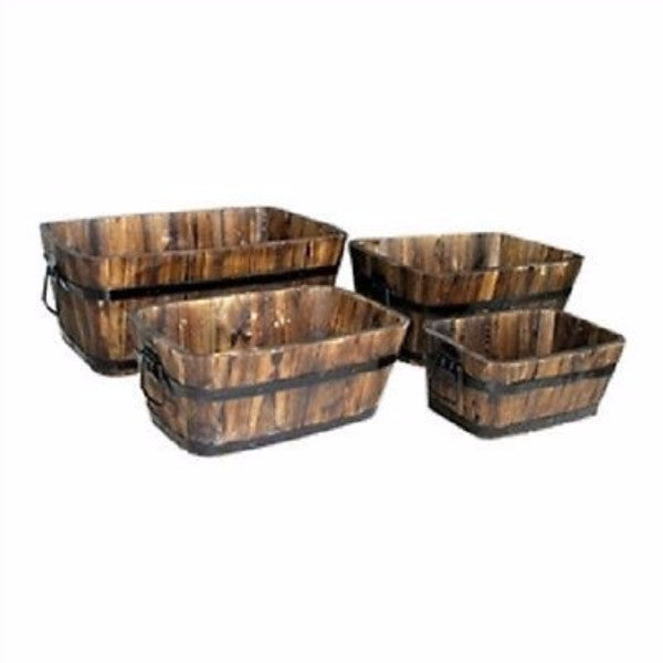 Set of 4 - Rectangular Outdoor Cedar Wood Barrel Planters in Burt Brown - YourGardenStop