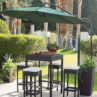 9' Cantilever Patio Umbrella with Forest Green Shade - YourGardenStop