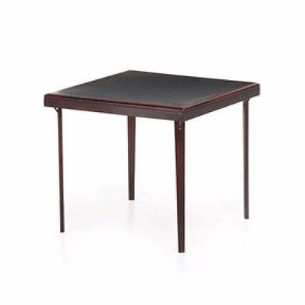 Square 32 inch Premium Wood Folding Table with Black Faux Leather Inset - YourGardenStop