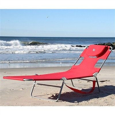 Red Chaise Lounge Beach Chair with Face Cavity and Arm Slots - YourGardenStop