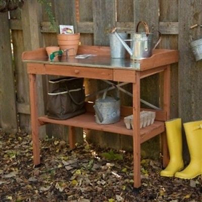 Metal Top Wood Potting Bench with Drawer & Bottom Shelf - YourGardenStop